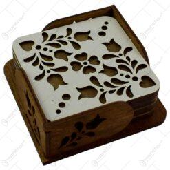 Set 6 suporturi realizate din lemn pentru pahare - Design traditional cu flori (Model 2)
