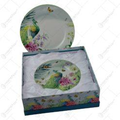 Set 7 farfurii realizate din ceramica - Design Paun & Flori