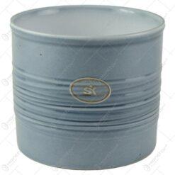 Ghiveci realizat din ceramica - Design cu dungi - Gri