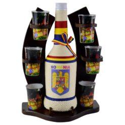Suport cu sticla impletita si 6 pahare tip shot - Design Romania
