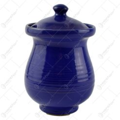 Recipient cu capac realizat din ceramica pentru miere - Albastru