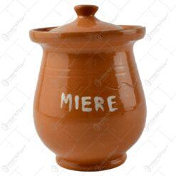 Recipient cu capac realizat din ceramica pentru miere - Maro