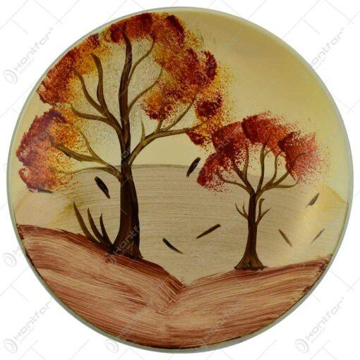 Platou decorativ realizat din sticla - Design cu peisaj de toamna