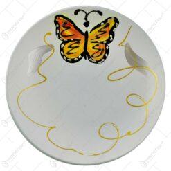 Platou decorativ realizat din sticla - Design cu fluture