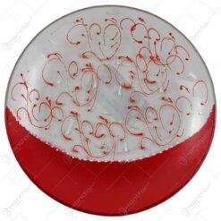 Platou decorativ realizat din sticla - Design cu spirale rosii
