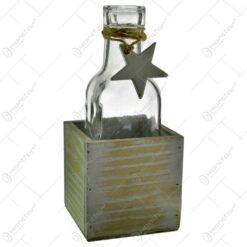 Vaza in forma de sticla in suport de lemn - Design cu steluta