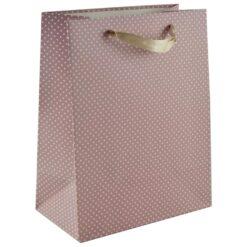 Punga pentru cadouri - Design cu buline - Roz (Model 2)