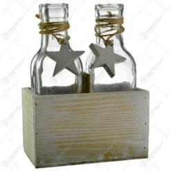 Set 2 vaze in forma de sticla in suport de lemn - Design cu stelute