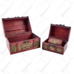 Cutii din lemn decorate cu flori - embosate - Mare - Mijlocie - Mica - 3 cutii - Brun
