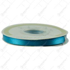 Panglica realizata din material textil satin de culoare turcoaz (6mm x 25m)