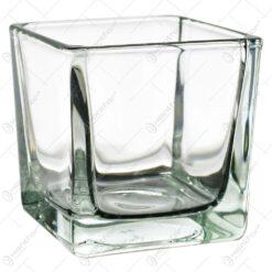 Candela realizata din sticla in forma de cub (Model 2)