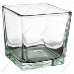 Candela realizata din sticla in forma de cub (Model 4)