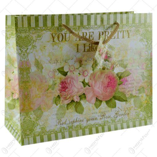 Punga pentru cadouri - Design cu flori si mesaj