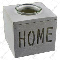 Candela realizata din sticla in suport de lemn - Design Home