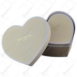 "Set 2 cutii cadou in forma de inima - Design cu mesajul ""Only for you"" - Crem"