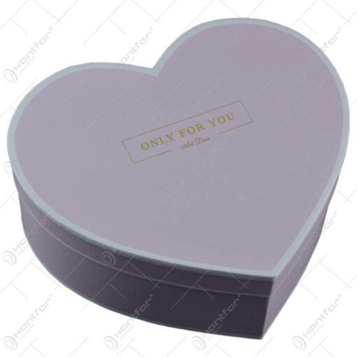 "Set 2 cutii cadou in forma de inima - Design cu mesajul ""Only for you"" - Roz"