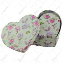 Set 2 cutii cadou in forma de inima - Design floral