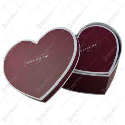 "Set 2 cutii cadou in forma de inima - Design cu mesajul ""Only for you"" - Bordo"