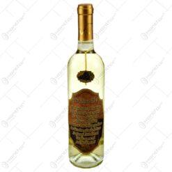 """Vin alb 0.75l cu eticheta personalizata din pluta - Design """"De ziua ta..."""""""