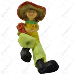 Pereche de figurine realizata din ceramica cu picioare din textil - Zana ciupercilor