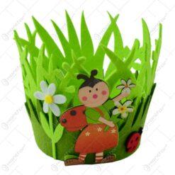 Cos decorativ de Paste realizat din pasla - Design cu flori si buburuza