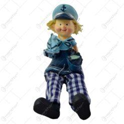 Figurina decorativa marinar realizata din ceramica cu picioare din textil - Copil pereche (Model 2)