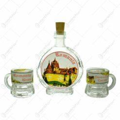 Plosca cu 2 pahare cu maner din sticla cu grafica - Castelul Bran