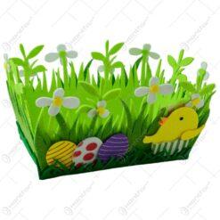 Cos decorativ de Paste realizat din pasla - Design cu flori si oua colorate