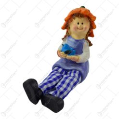 Pereche figurine copii cu pasari din rasina cu picioare textil 9CM
