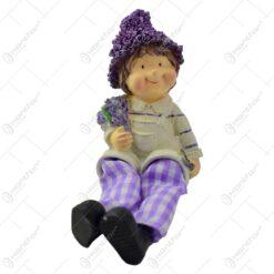 Pereche de figurine din ceramica cu picioare din textil - Model lavanda