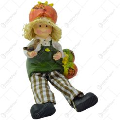 Pereche de figurine decorativa realizata din ceramica cu picioare din textil - Copil pereche (Model 5)