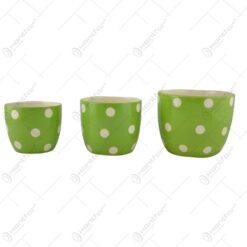 Set 3 ghivece pentru pentru flori realizate din ceramica - Design Buline - Diferite culori
