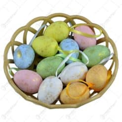 Set 12 oua colorate in cos pentru Pasti