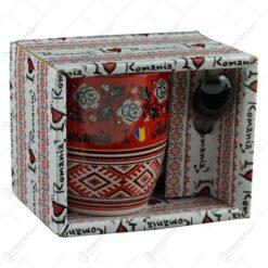 """Cana cu lingurita realizate din ceramica in cutie decorativa - Design Traditional & """"I Love romania"""" (Tip 1)"""
