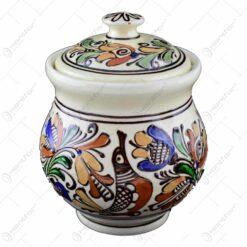 Recipient pentru miere din ceramica de Corund pictat cu motive traditionale de dimensiune mare