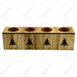 Suport realizat din lemn pentru 4 lumanari - Design Brad ( 28cm )