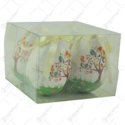 Set 4 oua colorate realizate din plastic - Design cu iepuras