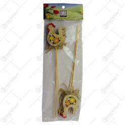 Set 6 decoratiuni pe bat pentru Pasti - Gaina