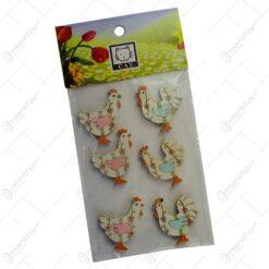 Set 6 figurine decorative pentru Pasti realizate din lemn - Diverse modele