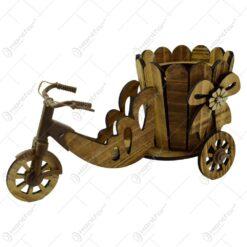 Suport realizat din lemn in forma de bicicleta pentru ghiveci - Design cu fundita si florare - 2 modele (Model 1)