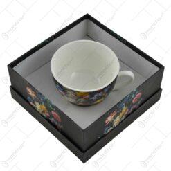 Cana cu farfurie realizata din ceramica in cutie decorativa - Design floral (Model 2)