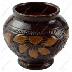 Vaza tip cupa din ceramica lacuit. gravat si pictat motive florale - Mare