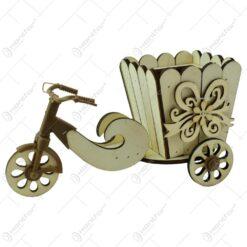 Suport realizat din lemn in forma de bicicleta pentru ghiveci - Design cu fundita si florare - 2 modele (Model 2)