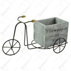 """Suport realizat din lemn si metal in forma de bicicleta pentru ghiveci - Design cu inscriptia """"Flowepot"""" (Model 1)"""