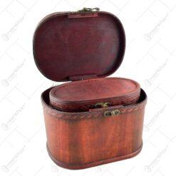 Set 2 cufere din lemn invelite in piele artificiala si decorate in stil vintage (Model 1)
