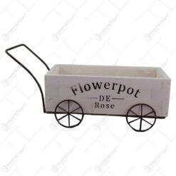 """Suport flori din lemn si metal in forma de caruta """"Flowepot"""""""