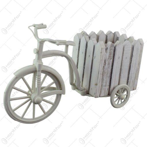 Suport realizat din lemn in forma de bicicleta pentru ghiveci - Alb