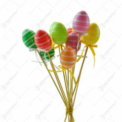 Set 10 decoratiuni pe bat pentru Pasti - Oua colorate