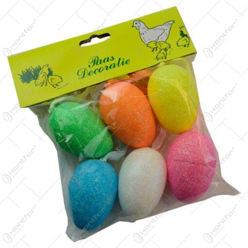 Set 6 oua colorate pentru Pasti - Multicolor cu glitter