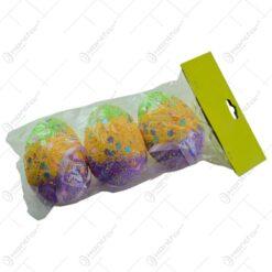 Set 3 oua colorate pentru Pasti - Design cu flori